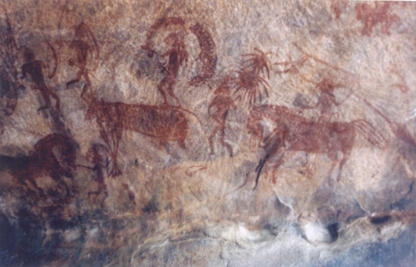 Một bức khắc họa trên tảng đá Bhimbetka tại Ấn Độ