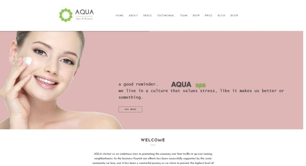 trang website spa mẫu Aqua